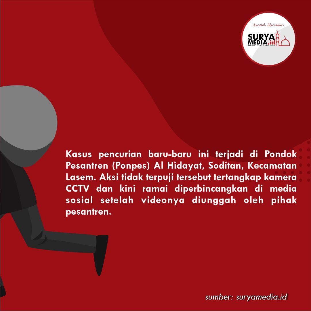 Tertangkap CCTV, Pencuri di Ponpes Al Hidayat Masih Diburu B