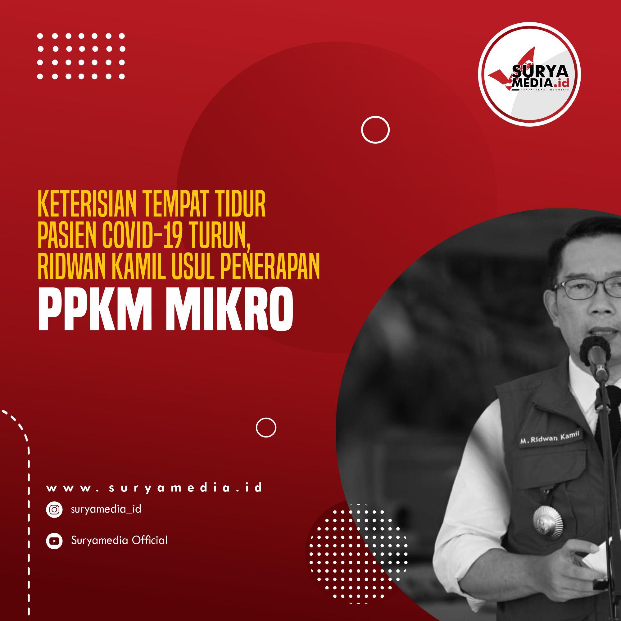 Keterisian Tempat Tidur Pasien Covid-19 Turun, Ridwan Kamil Usul Penerapan PPKM Mikro A