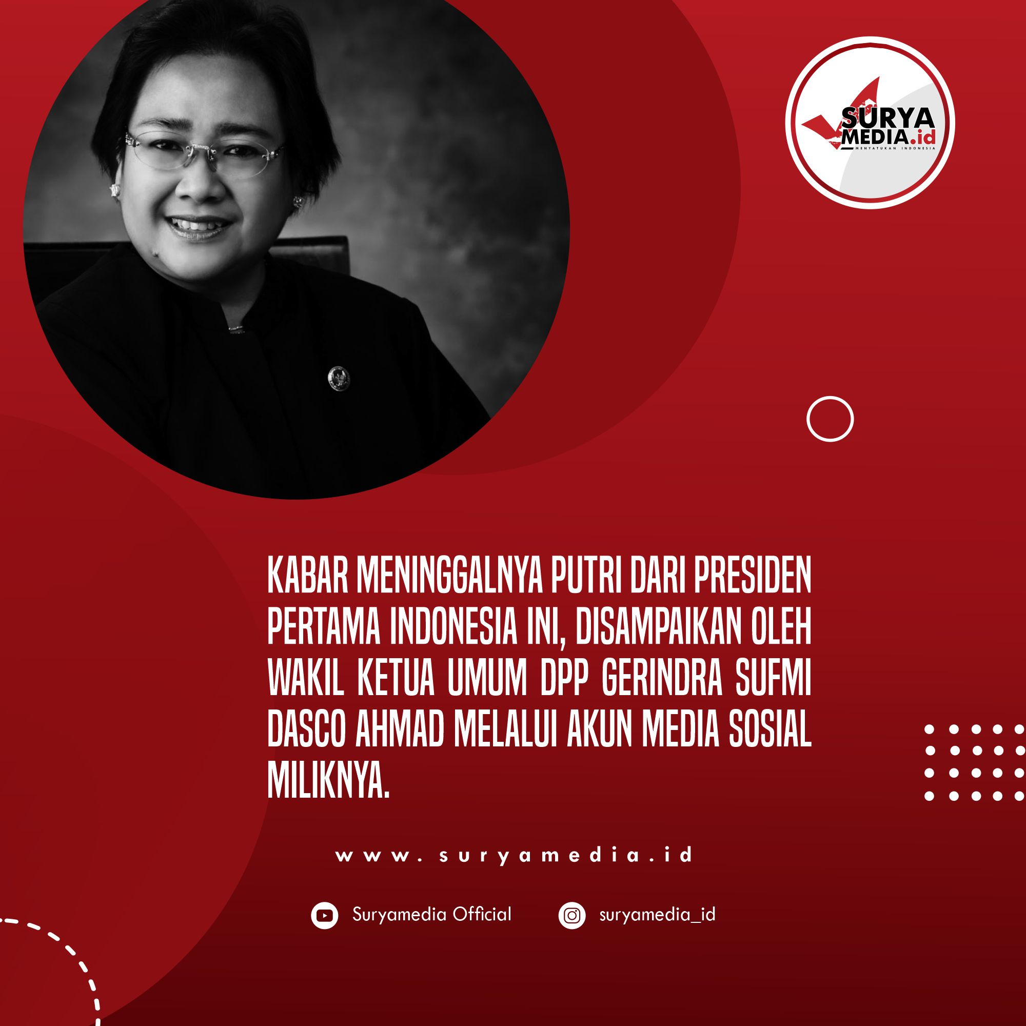 Putri Proklamator Indonesia, Rachmawati Soekarnoputri Meninggal Dunia C